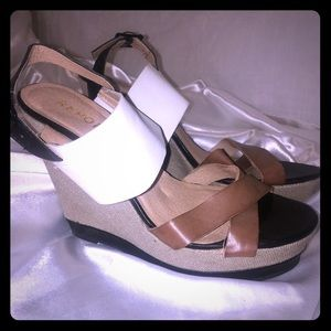 💰REPORT 5 inch tall heel sandal wedges leather